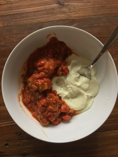 home-made turkey meatballs on cauliflower puree
